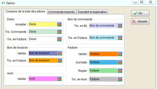 Personnalisation de la liste des pièces par couleurs